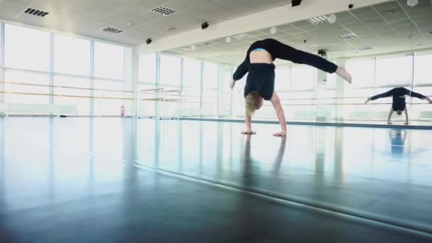 Sport dancer shooting video about training for social networks
