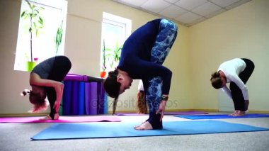 Beautiful girls stretches back muscles in yoga positions