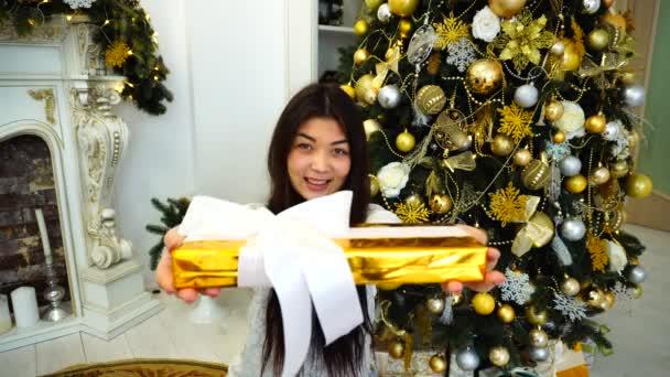 Portrét přitažlivá dívka v dobré náladě s dar v rukou, usmívají se na kameru a sedí na pozadí vánoční strom a krb na pokoji