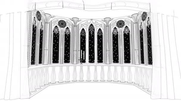 Balcone gotico nel vecchio castello 3d render sfondo animato in loop
