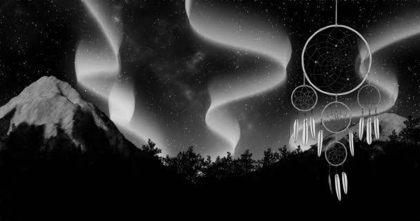 Dreamcatcher na noční obloha pozadí 3d ilustrace vykreslení