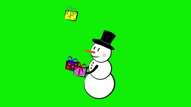 Sněhulák žonglování nové roky dárky představuje krabice
