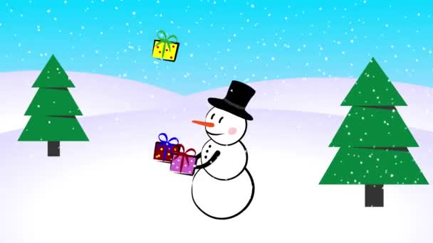 Snowman juggling new years gifts presents boxes