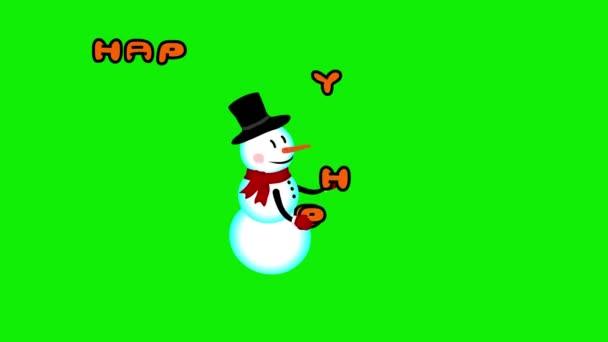 Hóember zsonglőrködik Boldog ünnepeket jel zöld képernyő