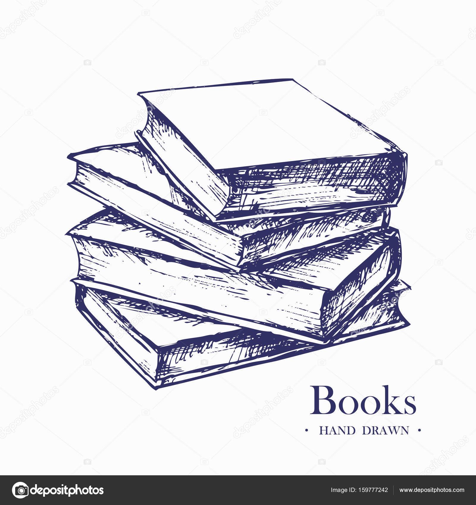 Bücherstapel gezeichnet  Stapel Bücher, Hand gezeichnet Skizze Vektor-illustration ...