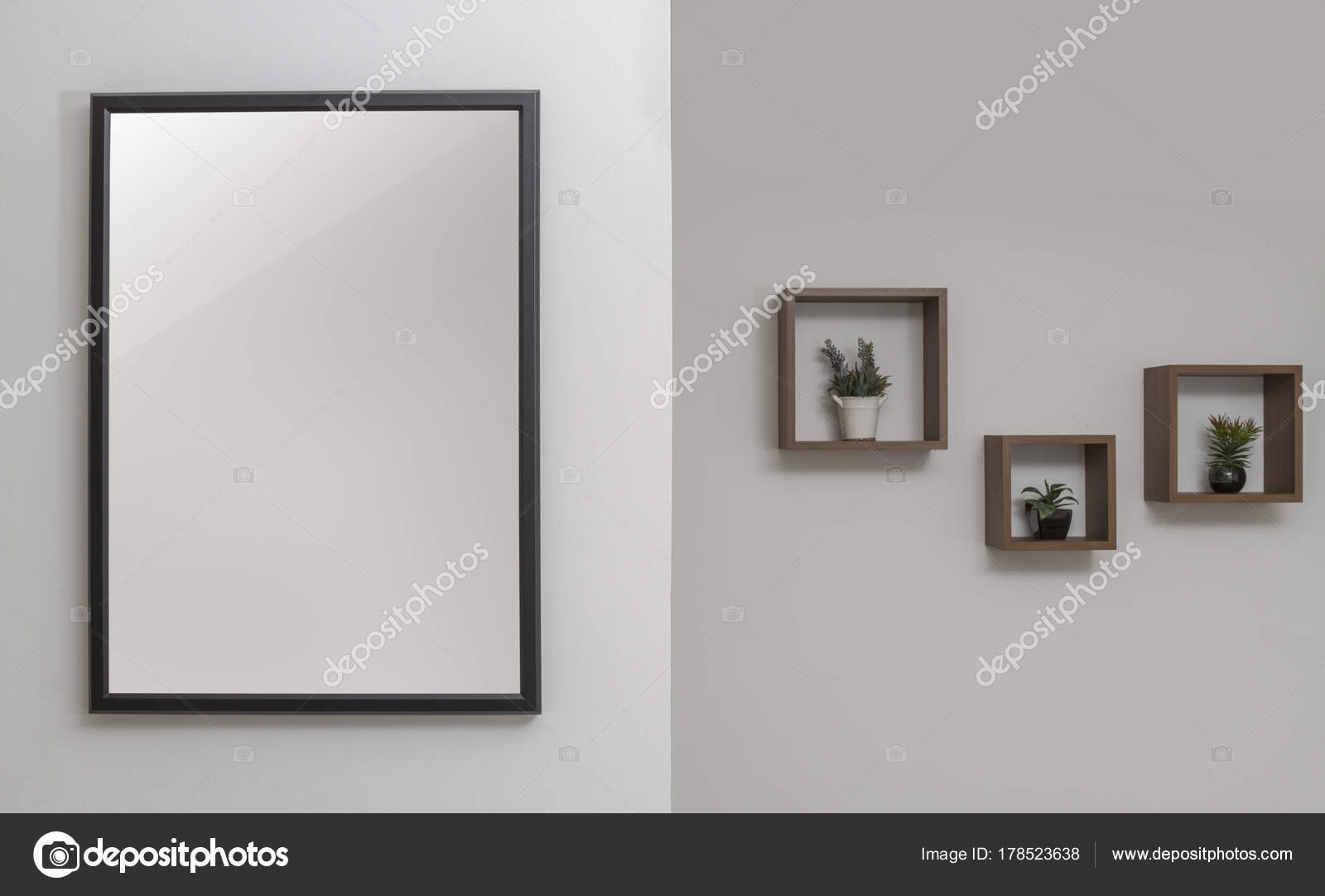 Wall decoration - black wooden frame and wall shelves — Stock Photo ...