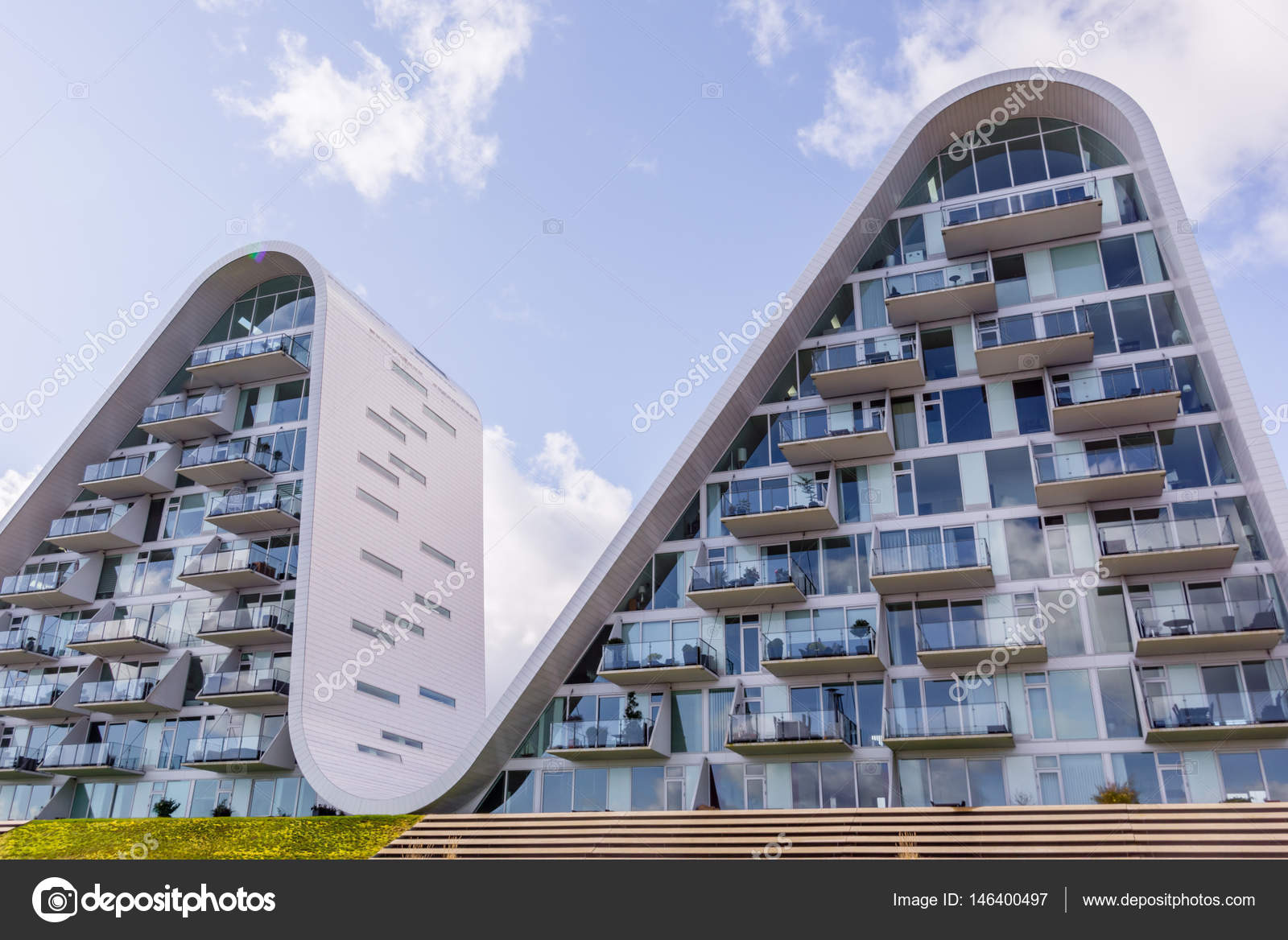 the wave futuristic homes in vejle denmark stock editorial photo