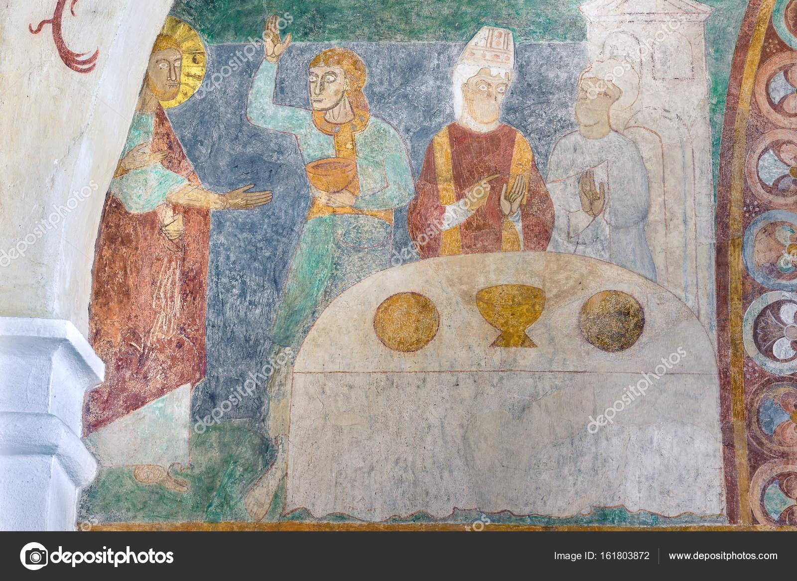 Hochzeit Zu Kana Eine Alte Romanische Fresko In Einer Danischen