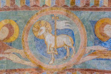 Lamb of God, a medieval fresco