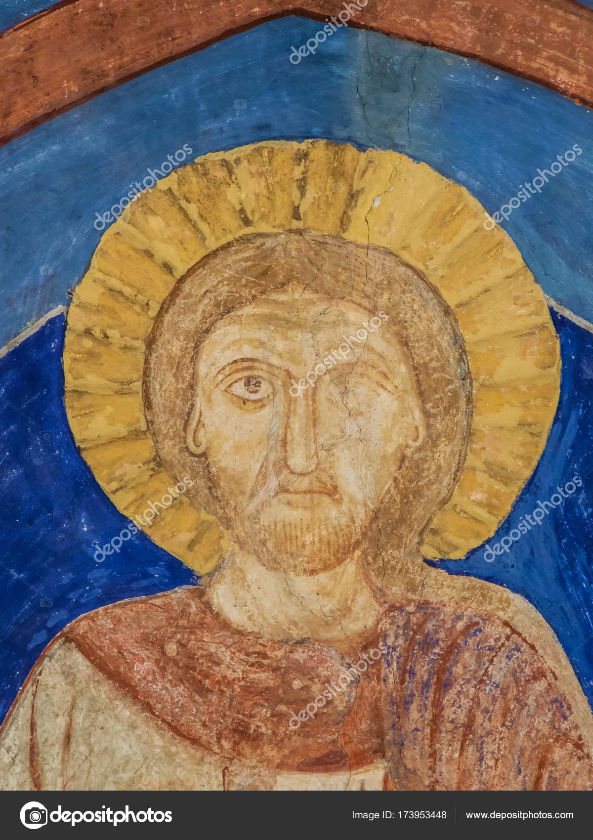 Ancienne Murale Bleu Outremer De Jesus Christ Photo