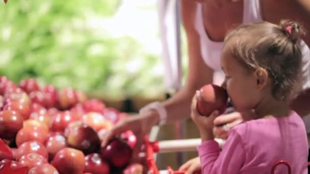 Young mother with little daughter in trolley selecting fruits at supermarket