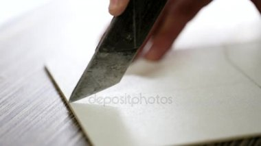 Closeup furniture knife cutting plywood board