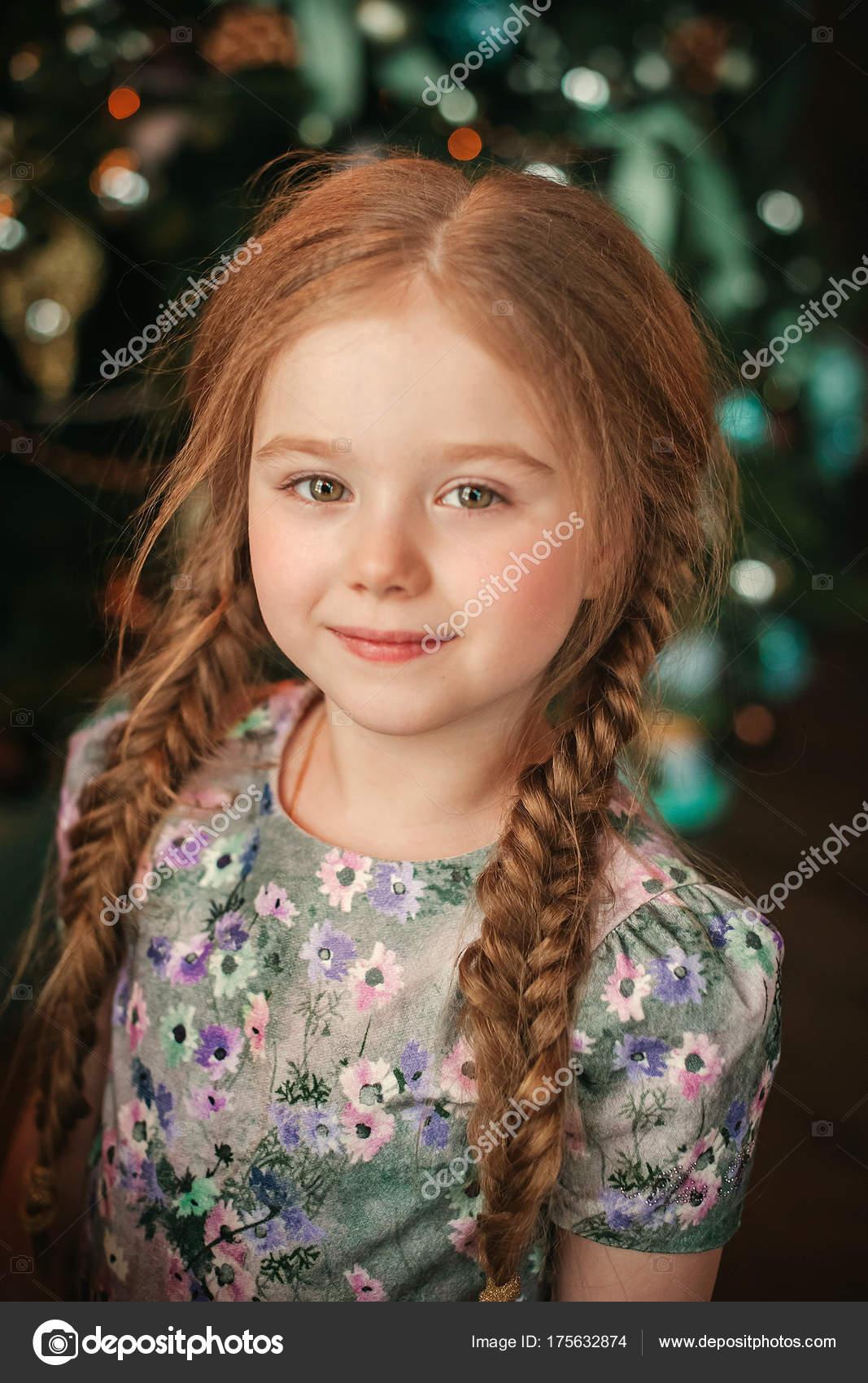 Portrait Little Beautiful Girl Ginger Hair Stock Photo