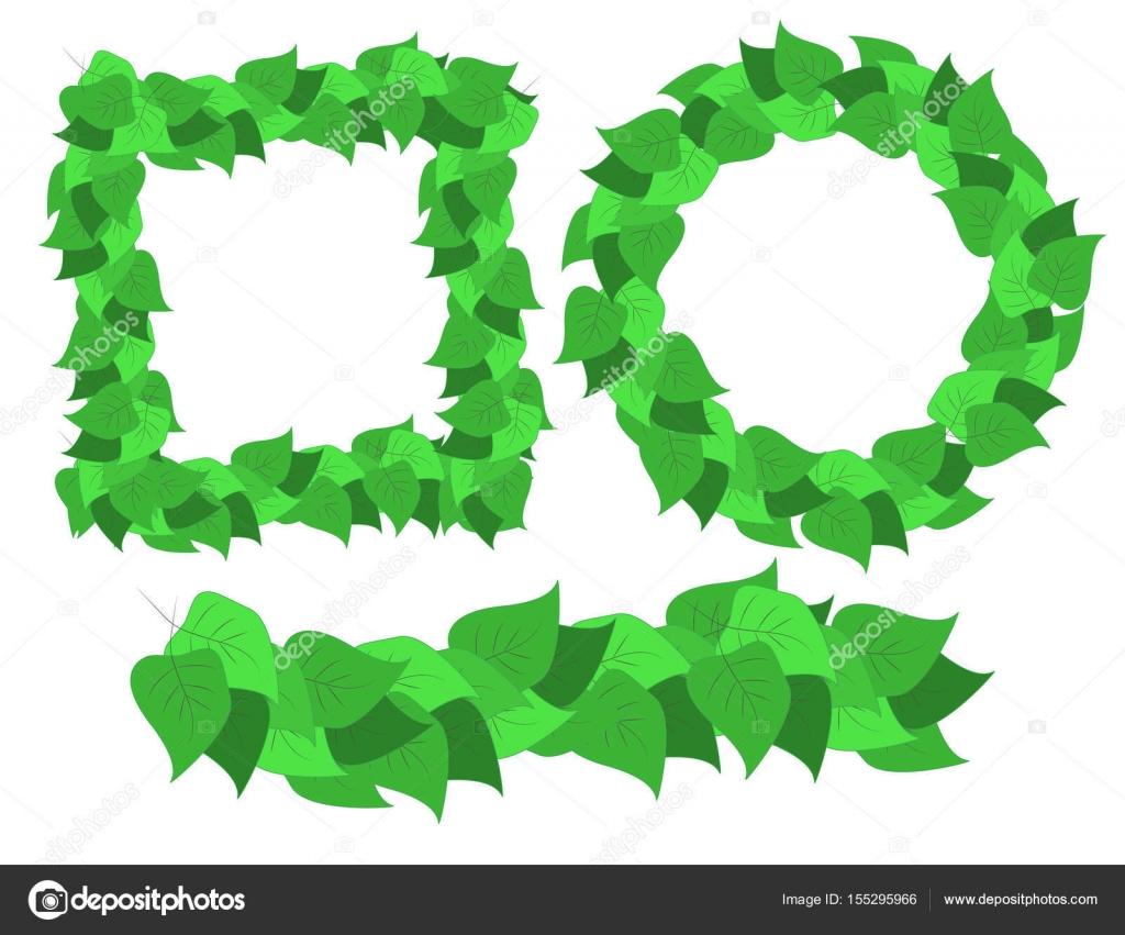 Conjunto de Marcos verdes abstractos con hojas — Vector de stock ...