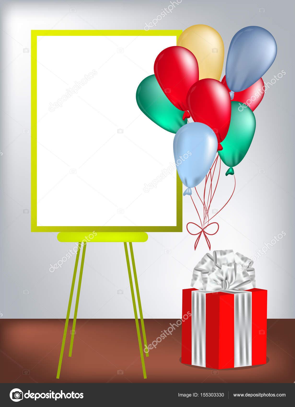 Tarjeta de felicitación de cumpleaños con el marco de texto, globos ...