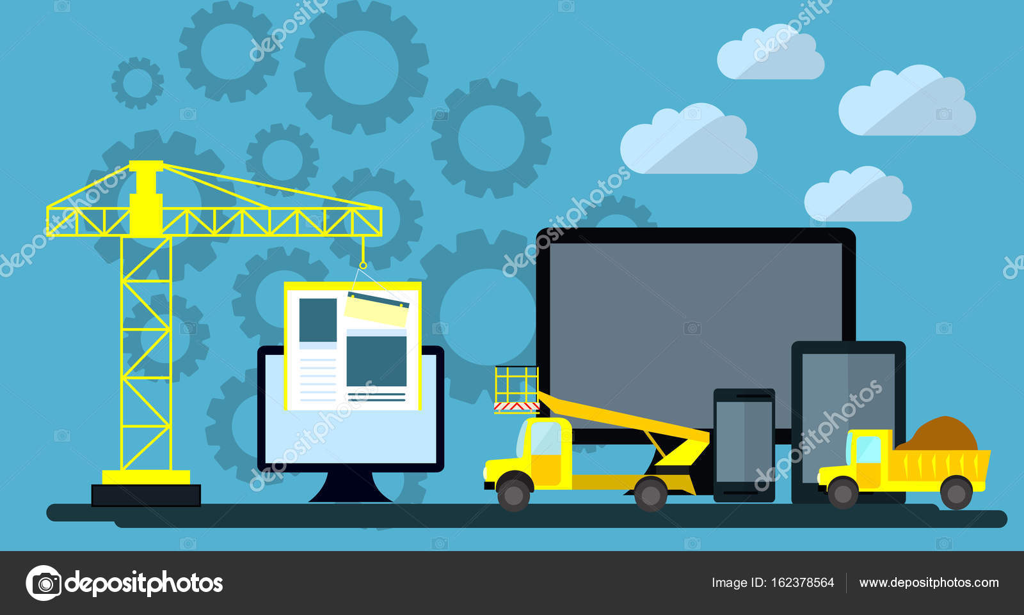 Flaches Design Website unter Konstruktion, Bauprozess Webseite ...