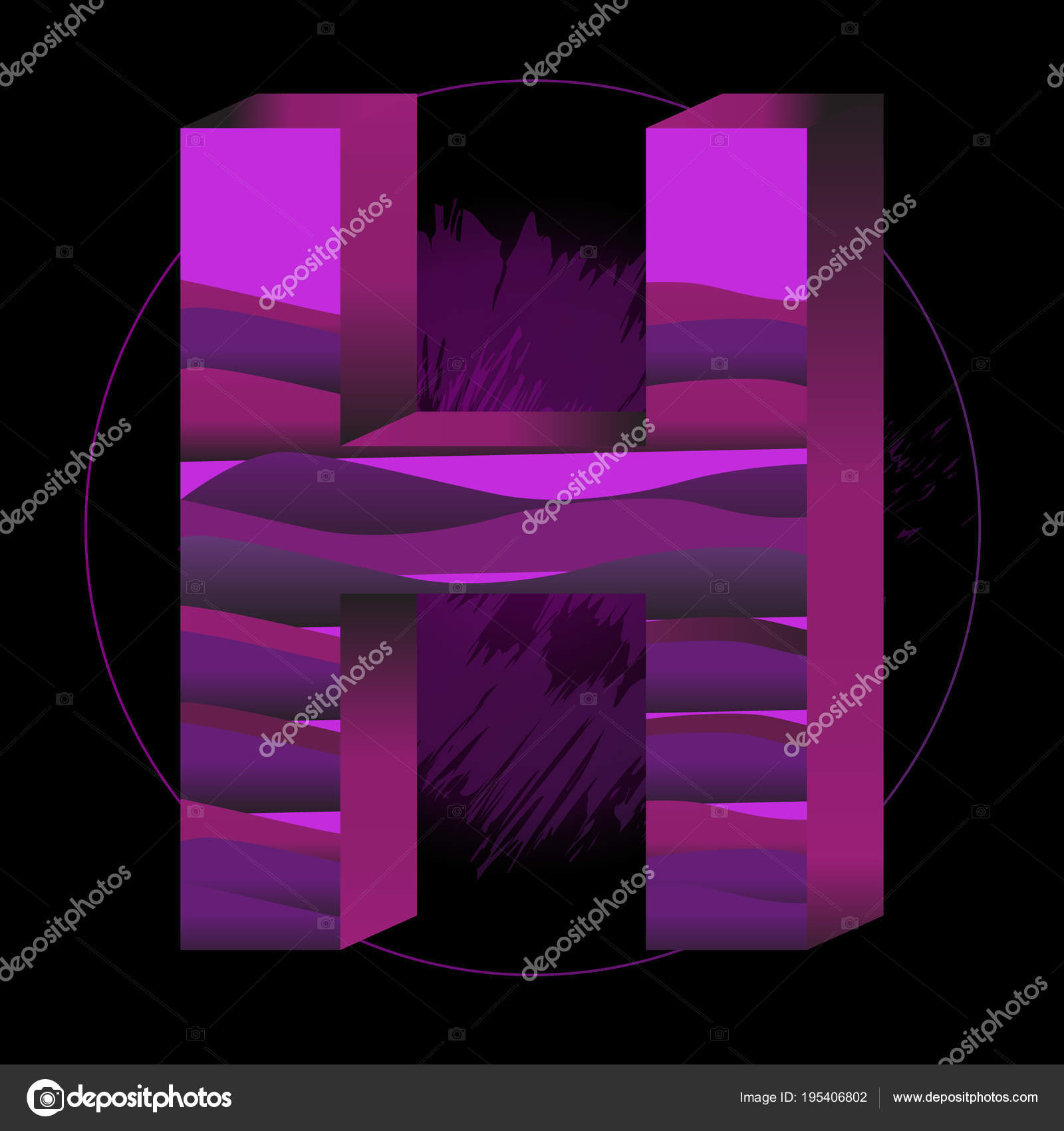 modern abstract colorful alphabet letter h decoration element for birthday or greeting design