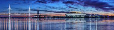 Panorama of Vantovy Bridge, stadium Zenit Arena in St. Petersbur