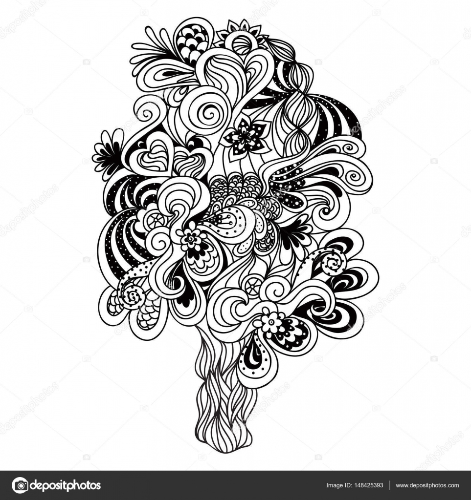 Coloriage Arbre Anti Stress.Illustration Vectorielle Tangle Zen Arbre De Doodle Livre A