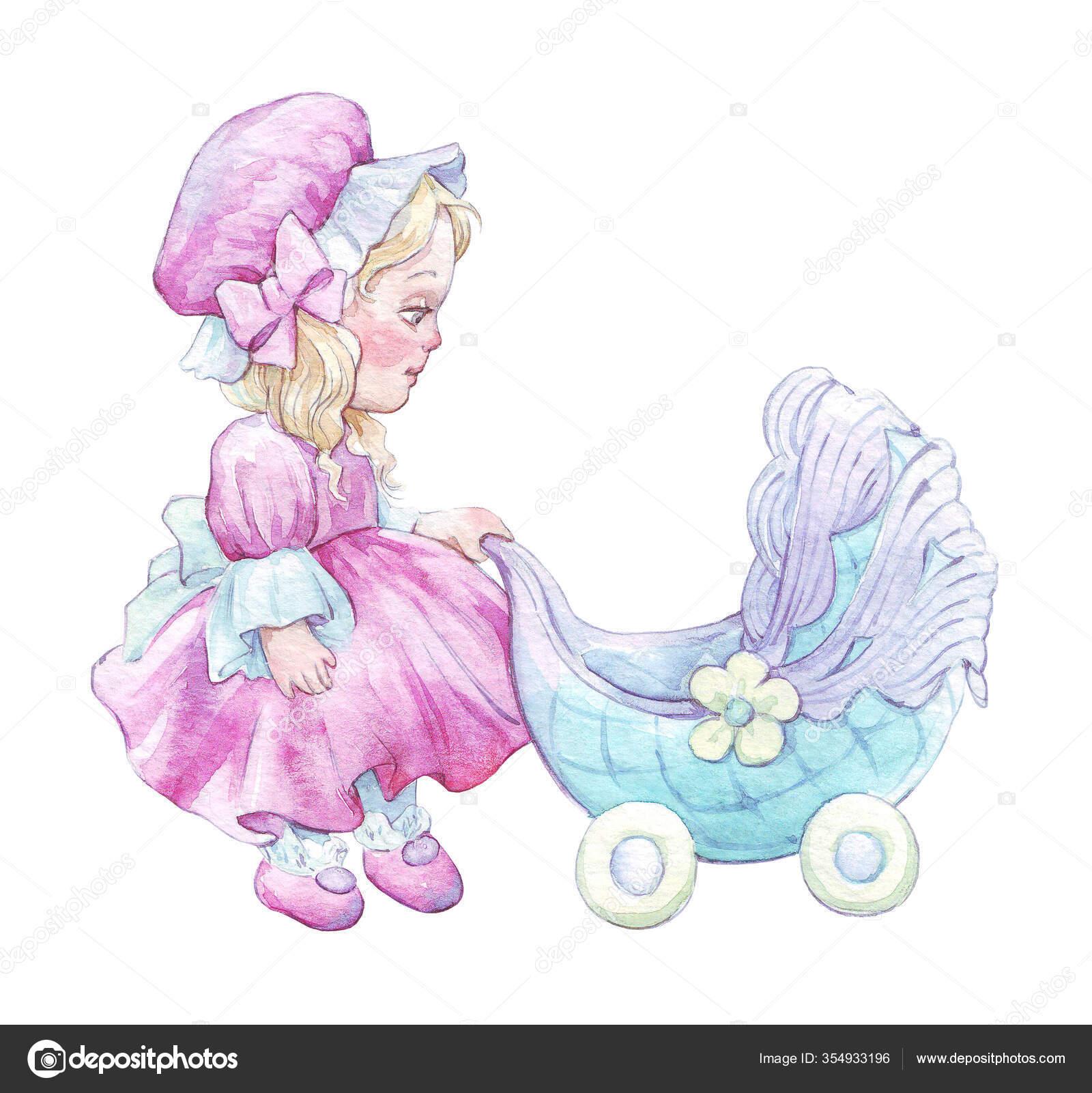 Мультяшная Кукла Коляской Акварелью — Стоковое фото ...