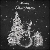 Vánoční nebo novoroční ručně kreslenou vektorové ilustrace. Sněhulák v vysoký klobouk, vánoční strom a dárkové krabice skica, vintage styl. Grunge tabule pozadí