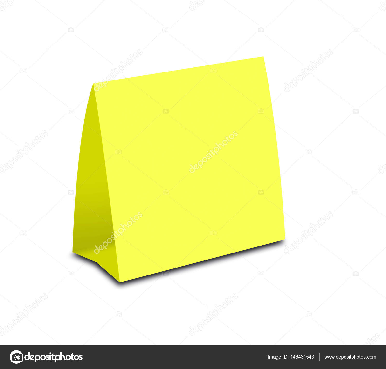 blank yellow table tent on white paper vertical cards isolated