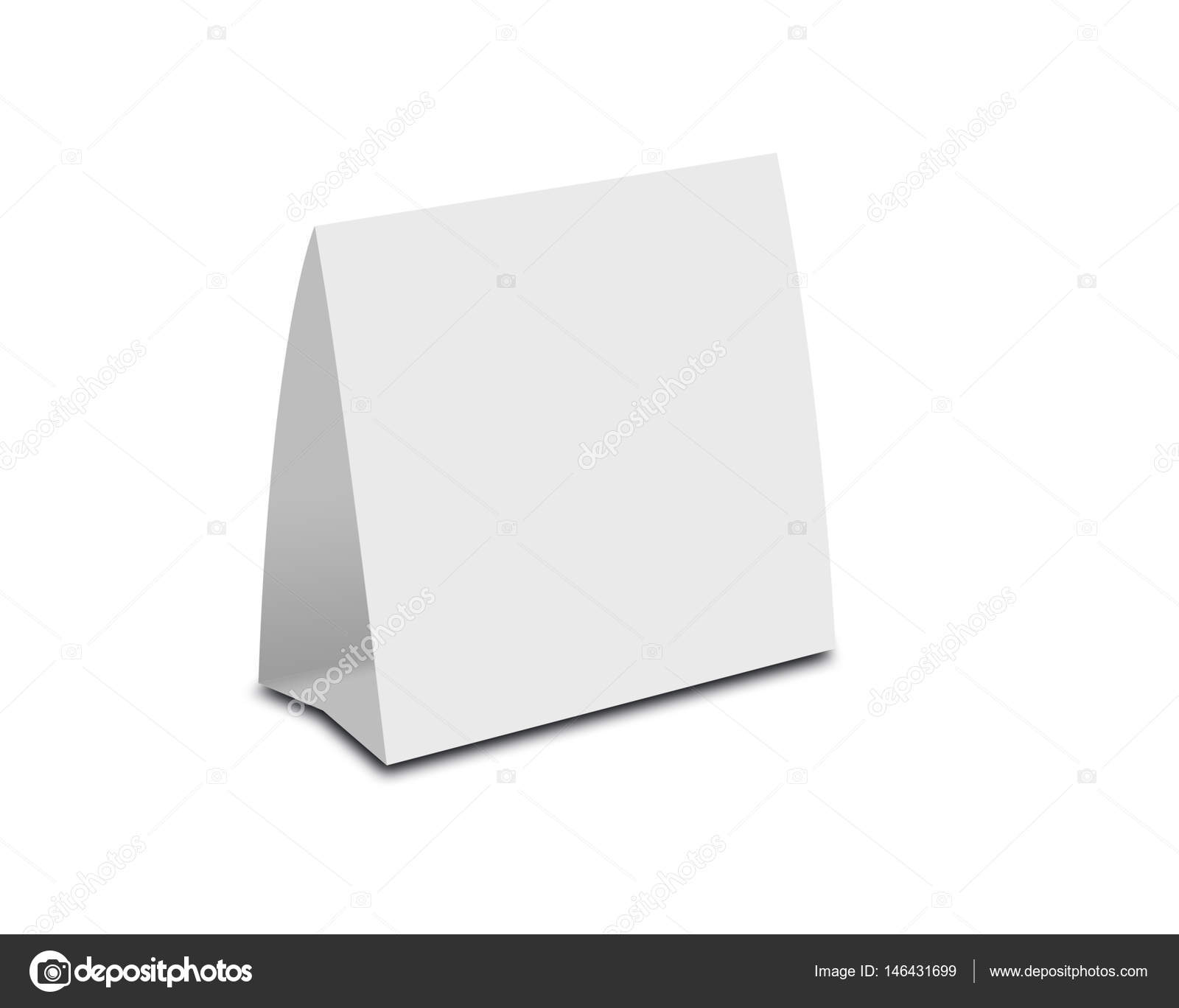 Blank White Table Tent on white. Paper vertical cards isolated ou2013 stock image  sc 1 st  Depositphotos & Blank White Table Tent on white. Paper vertical cards isolated o ...