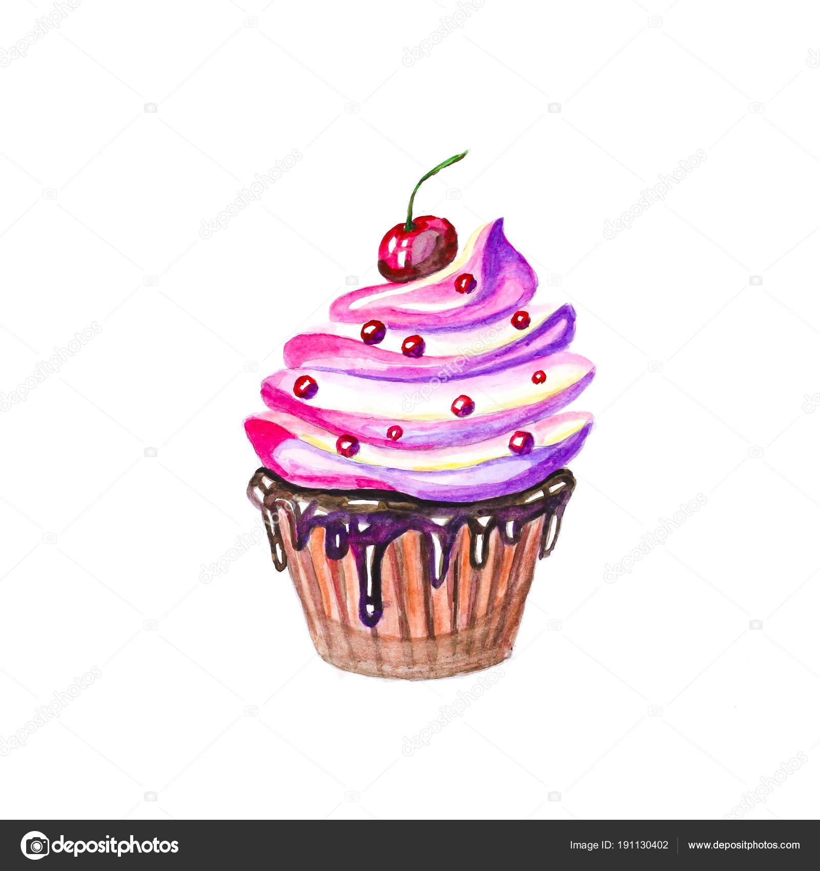 Kuchen Mit Sahne Schokolade Und Sahnehaubchen Hand Gezeichnet