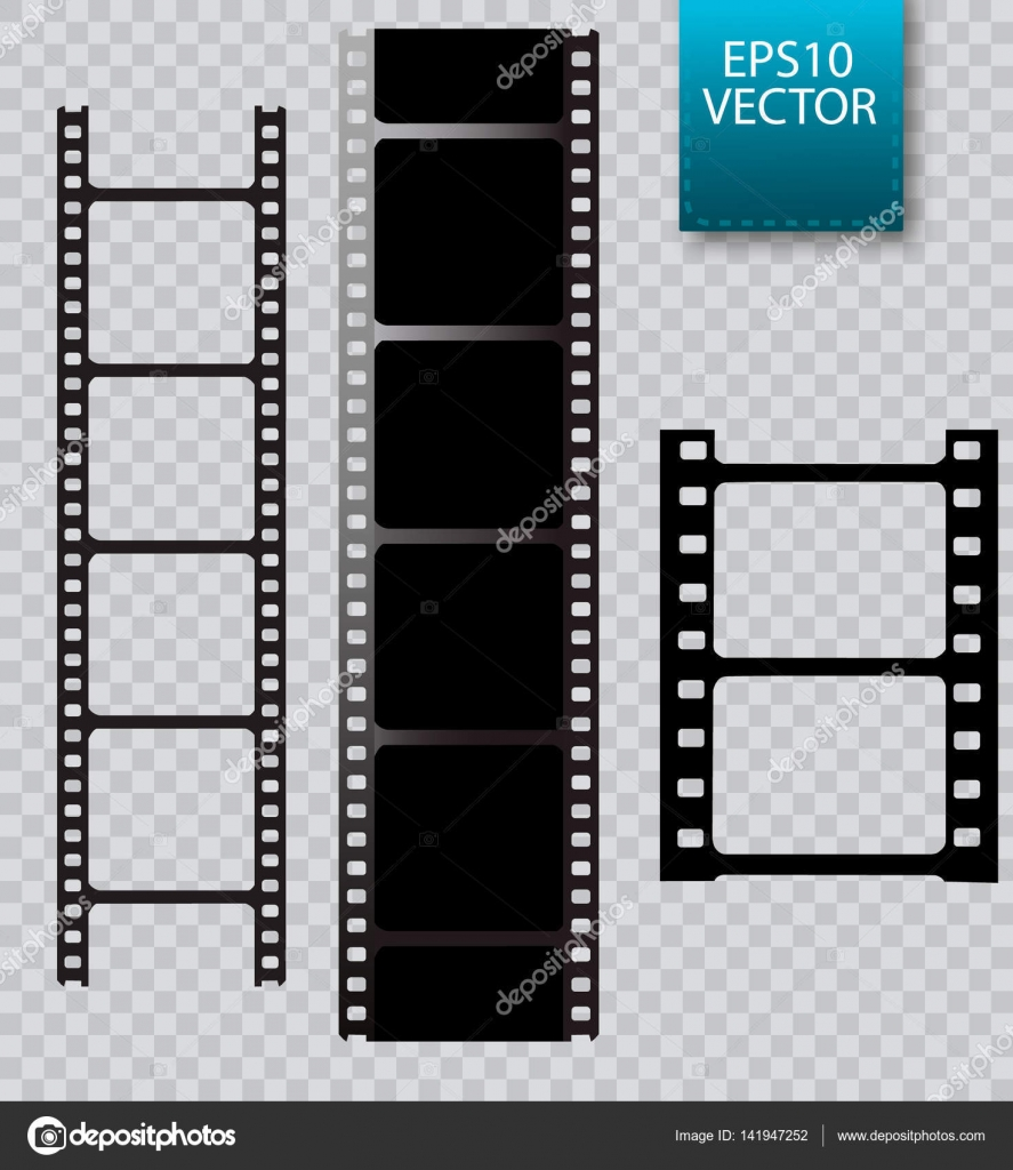 Conjunto de vector de celuloide aislado sobre fondo transparente ...
