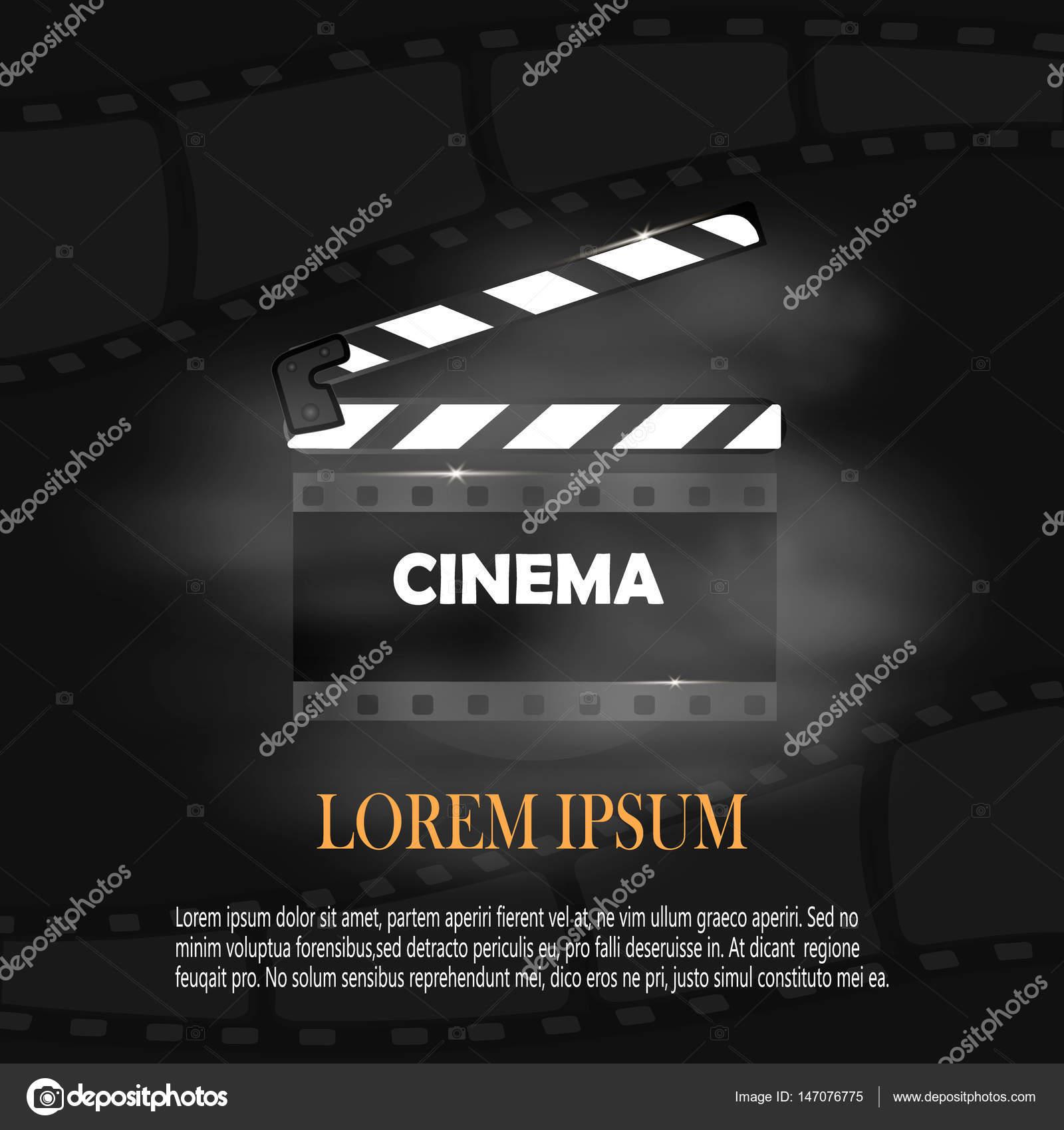 Online Kino-Hintergrund mit Film Reel und Klappe. Vektor-Flyer oder ...