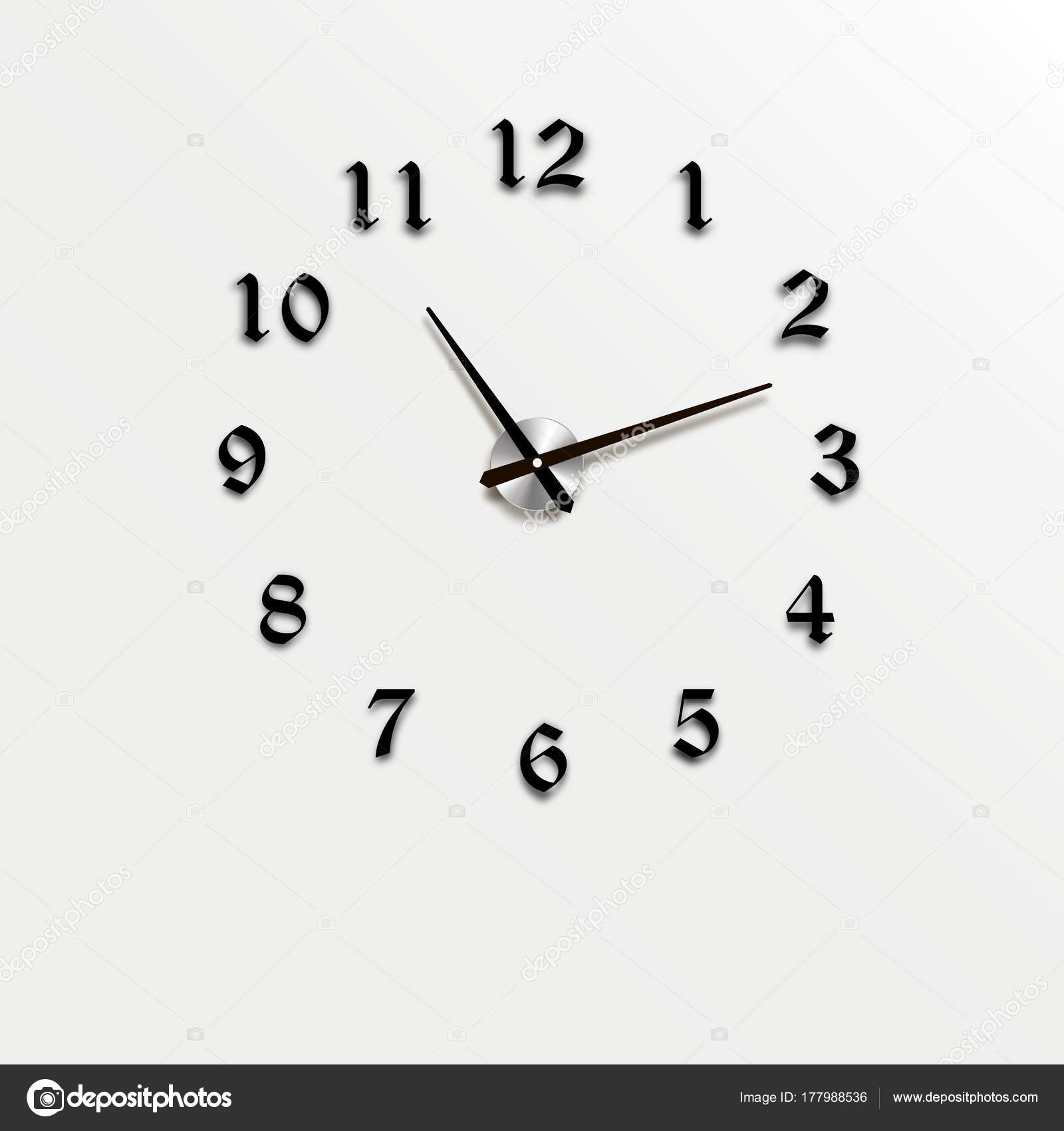 Wall clock office. Template design in vector closeup. The layout for ...