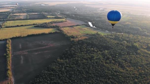 Krásné balónky létají nad lesem, parkem, městem.