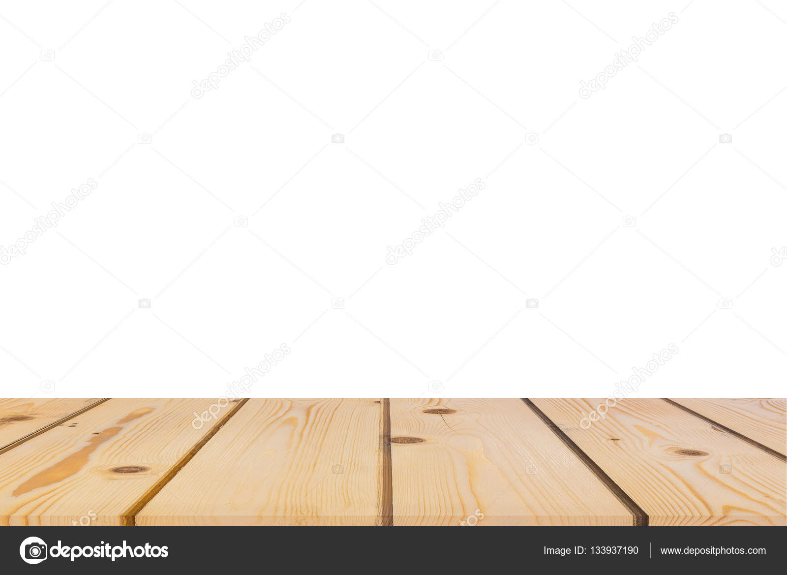 Empty Light Pine Tree Wood Table Top Isolate On White Background U2014 Stock  Photo #133937190