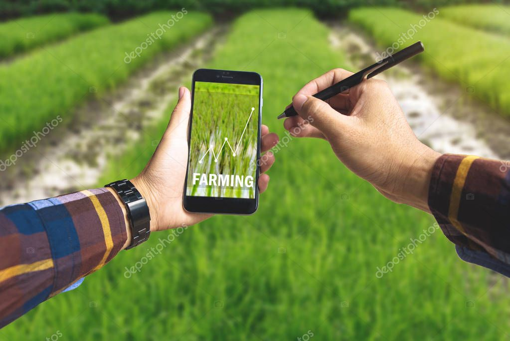 Hand holding smart phone and electronic pen with farming text an