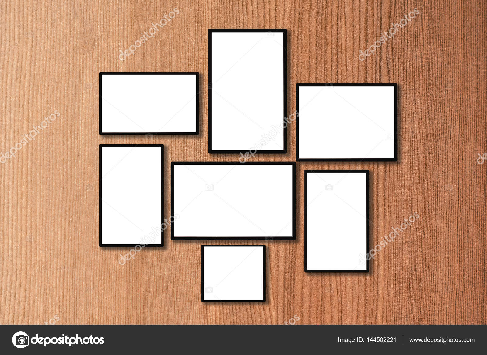 blank black frames on old wooden wall vintage style — Stock Photo ...