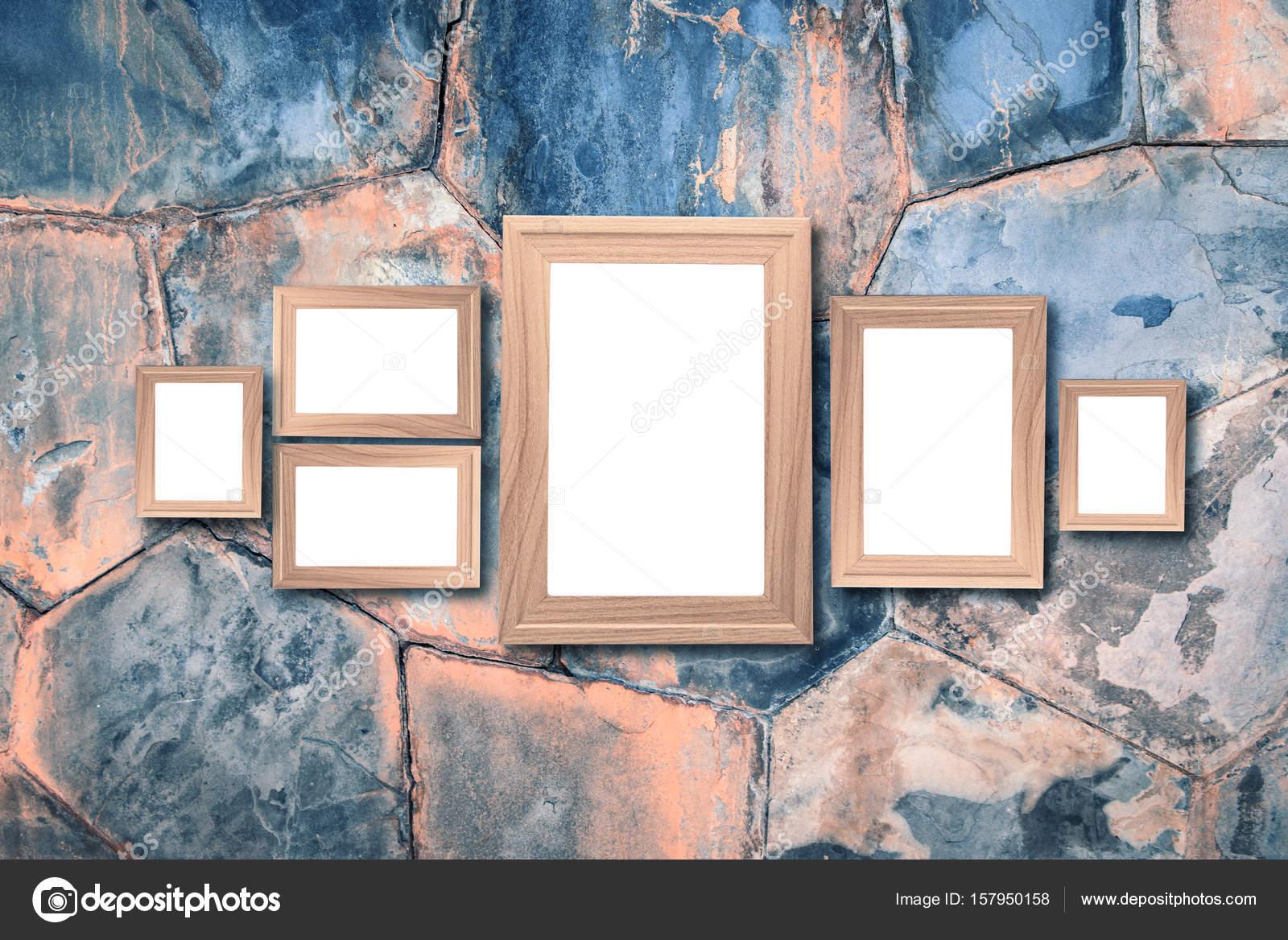 Collage de marcos de madera marrón en blanco, imitan para arriba en ...