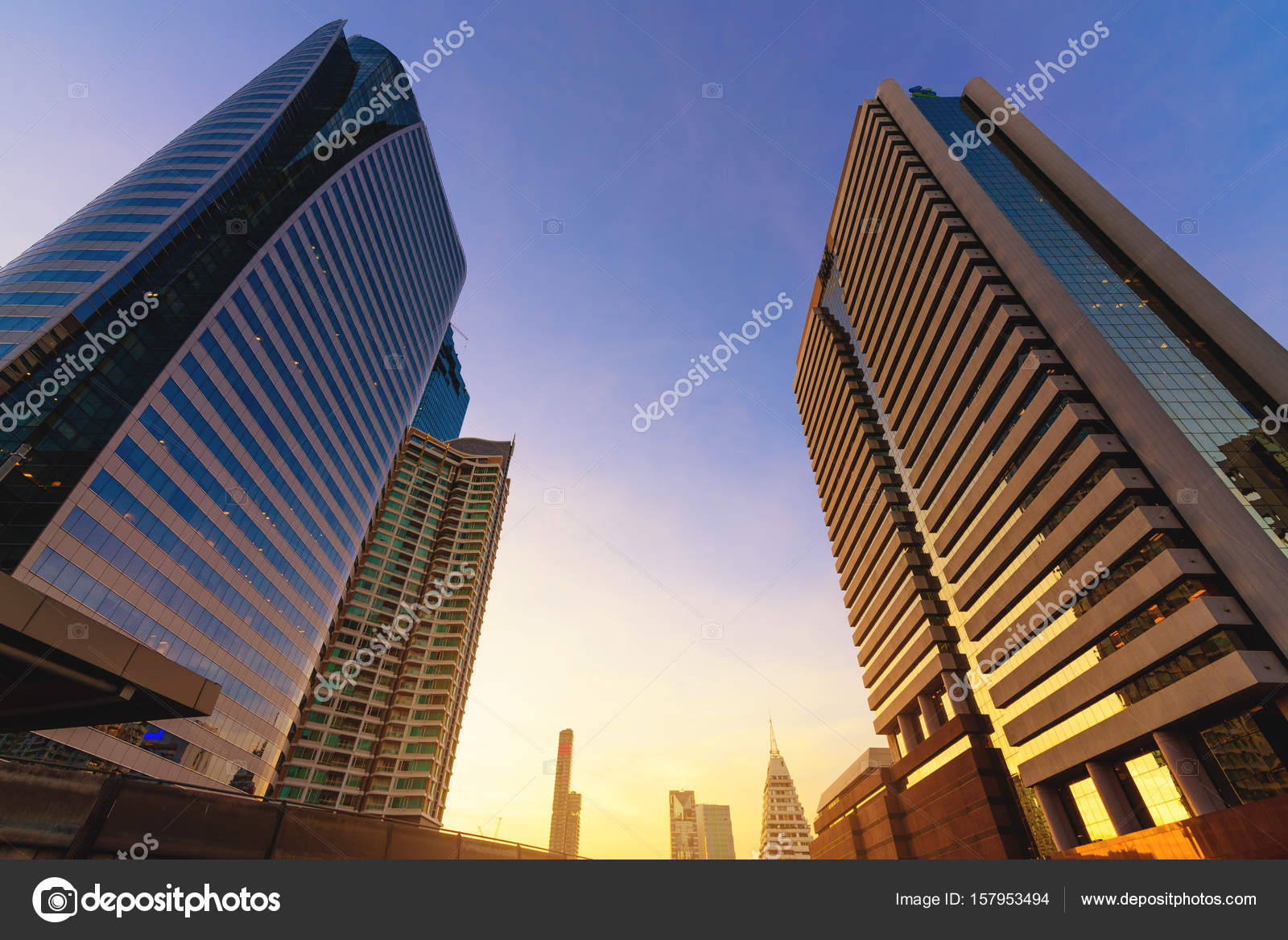 Photo Of Commercial Office Buildings Exterior. Night View At Bot U2014 Stock  Photo
