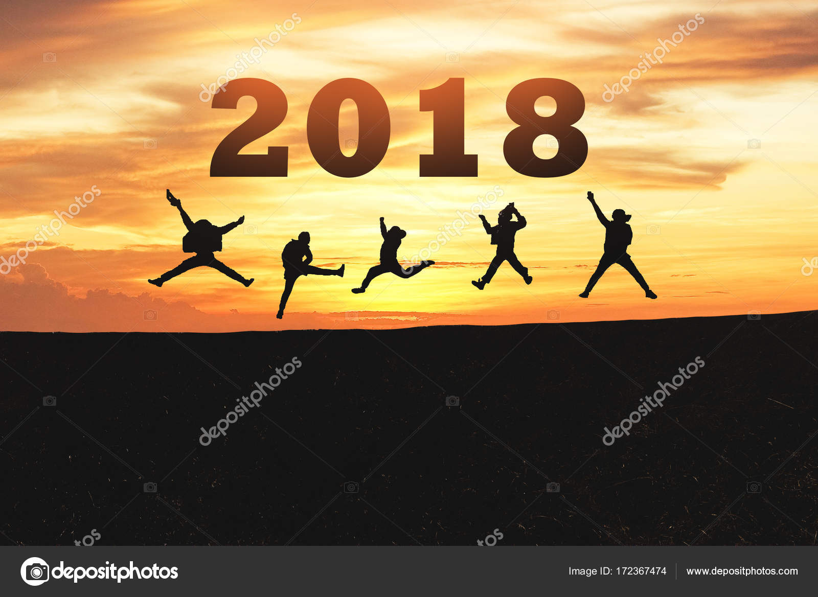 Happy New Year Card 2018 Silhouette Of Teenager Jumping On Mountain