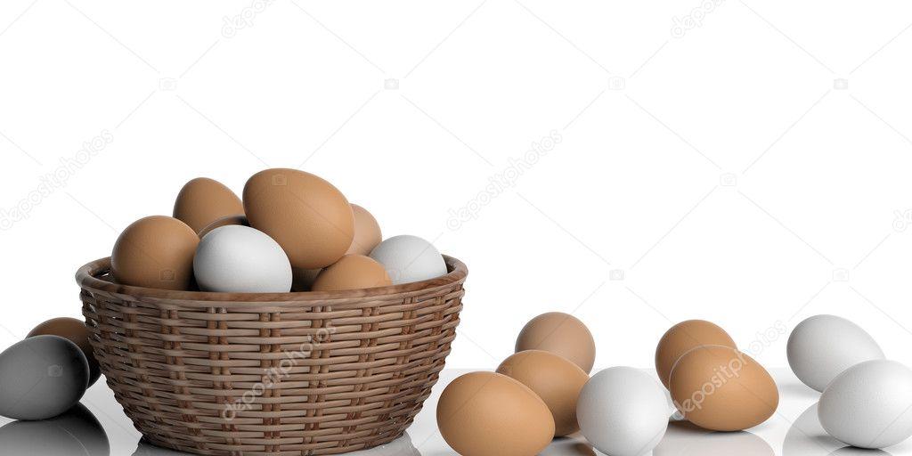 Resultado de imagem para ovos branco e marrom na cesta