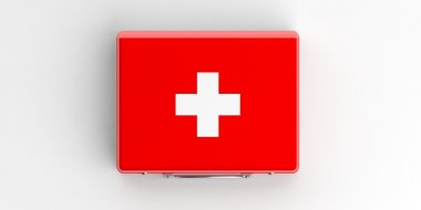 3d rendering first aid kit on white background