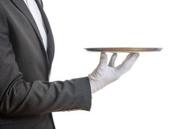 Waiter holding a tray