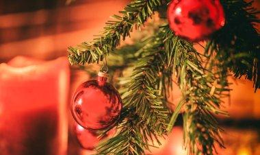 Christmas decoration near a fireplace