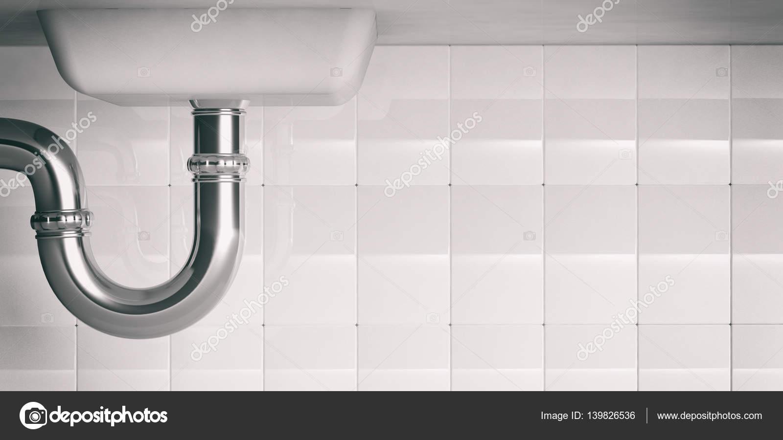 Wasserleitungen unter Spüle. 3D y — Stockfoto © gioiak2 #139826536