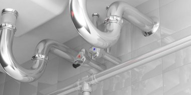 Water pipes under double sink. 3d illustartion