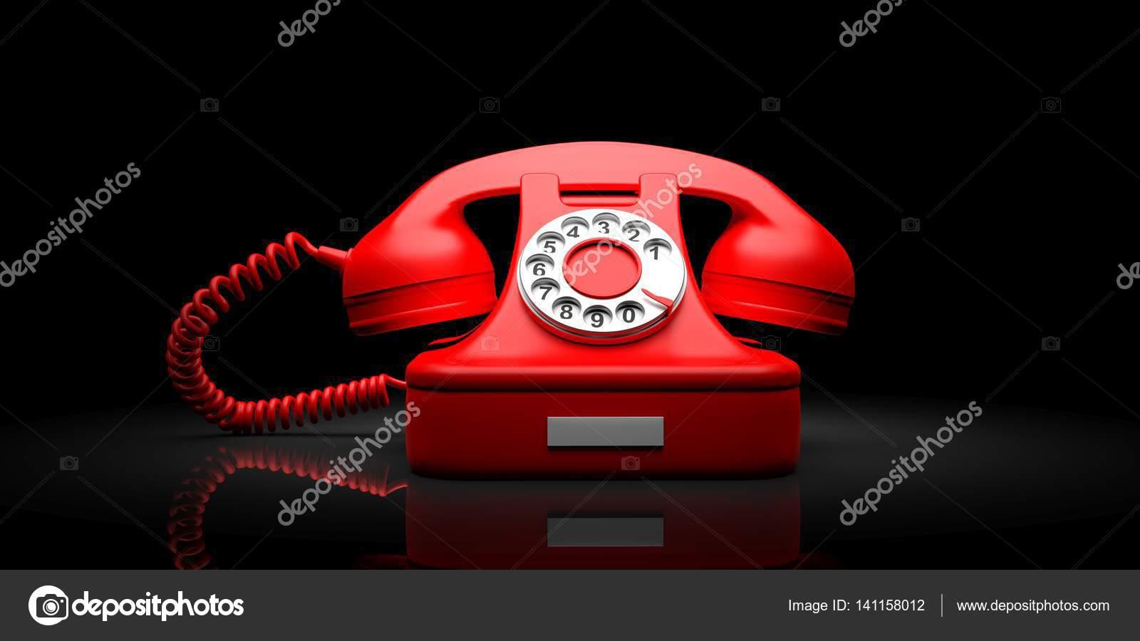 Vecchio Telefono Rosso Su Sfondo Nero Illustrazione 3d Foto Stock