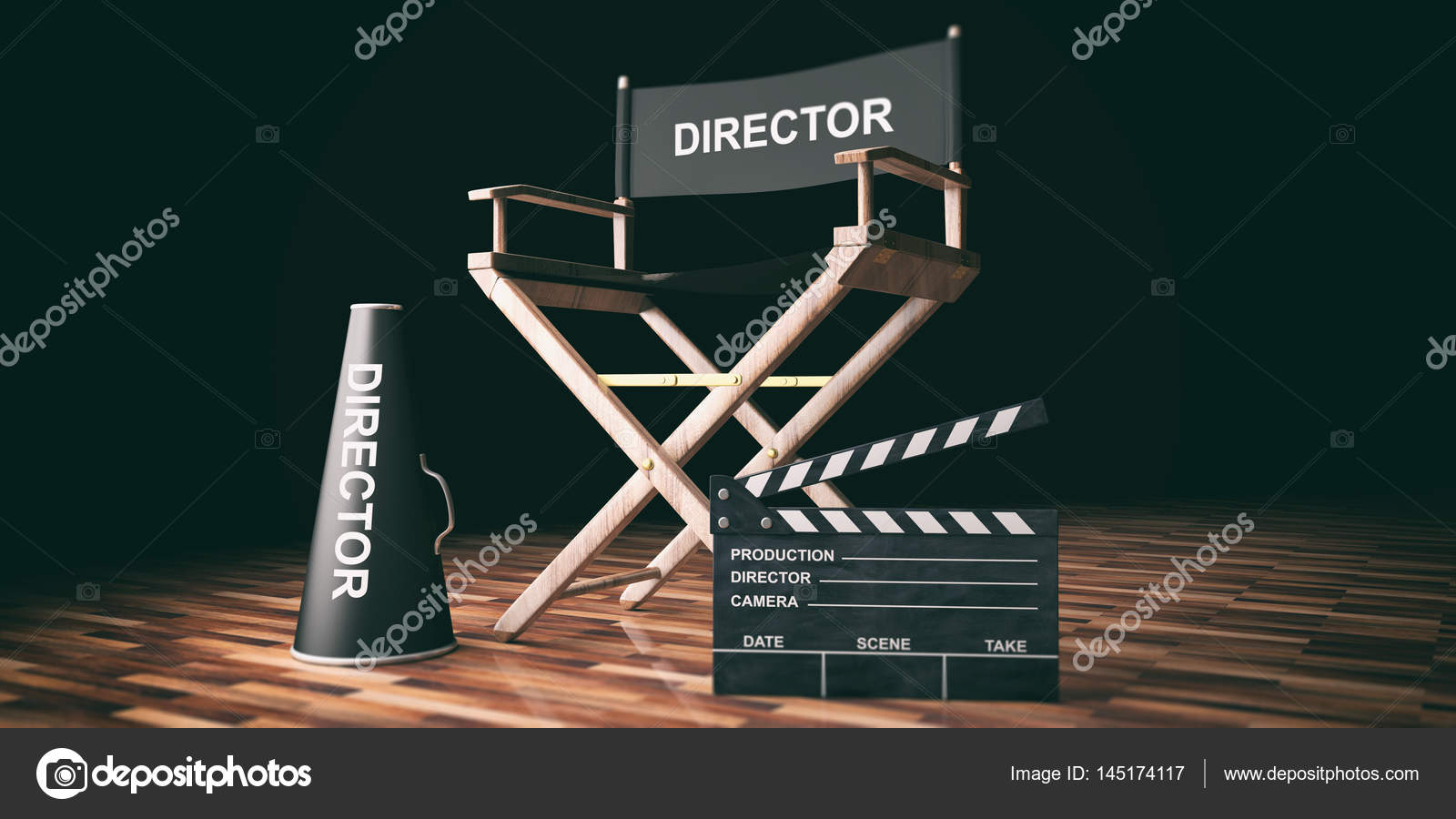 Cinema Director Chair And Clapper On Wooden Background 3d Ilration Photo By Gioiak2