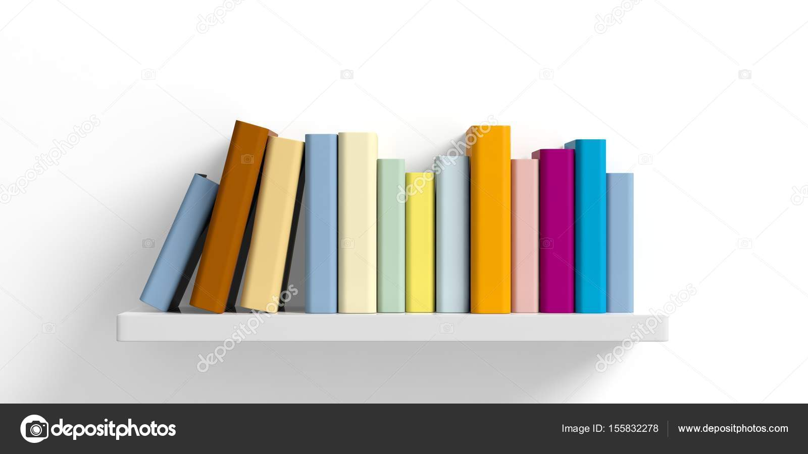 Colored books on a shelf on white background. 3d illustration ...