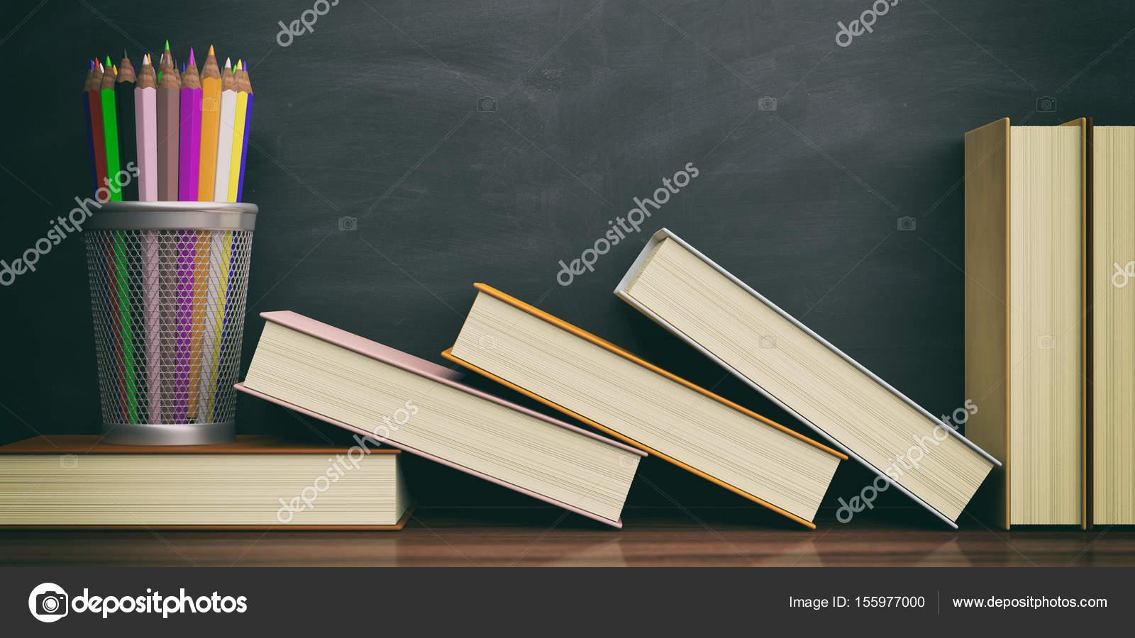 Lápices de colores y libros sobre un fondo de pizarra. Ilustración ...