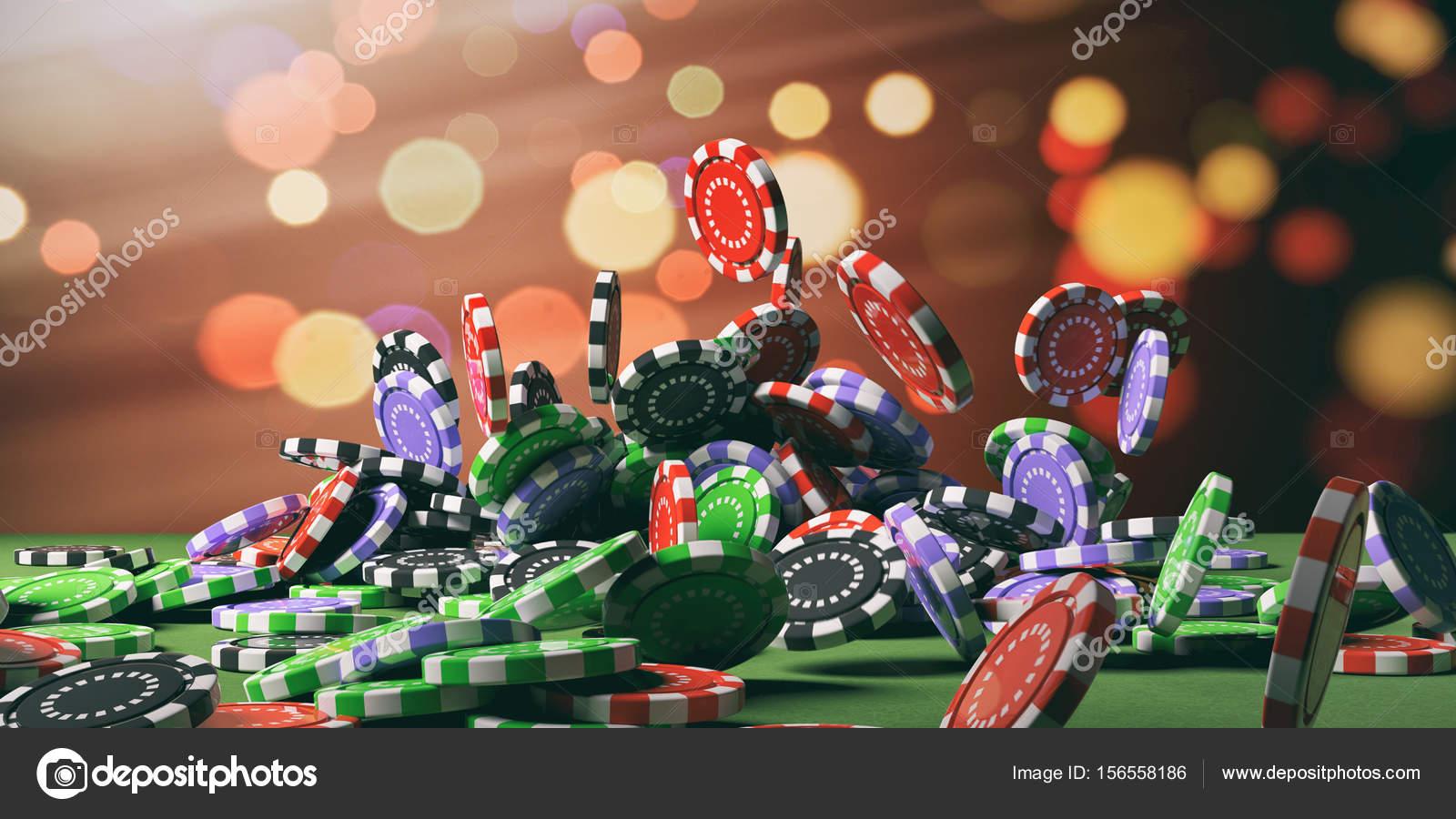 Jetons De Casino Tombant Sur Feutre Vert Illustration 3d