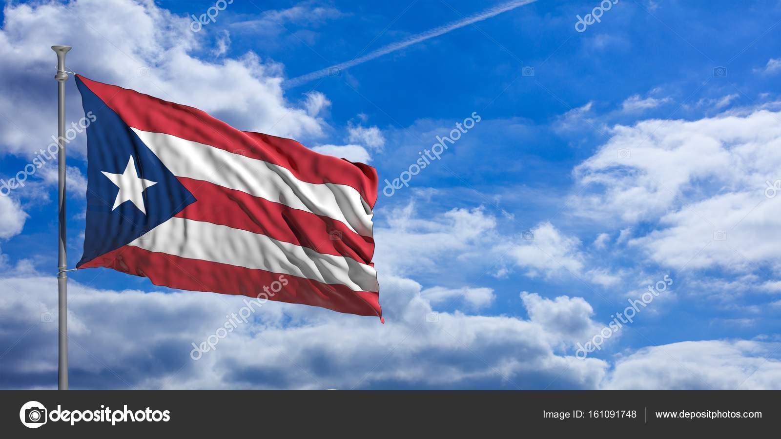 Puerto Rico Waving Flag On Blue Sky 3d Illustration Stock Photo